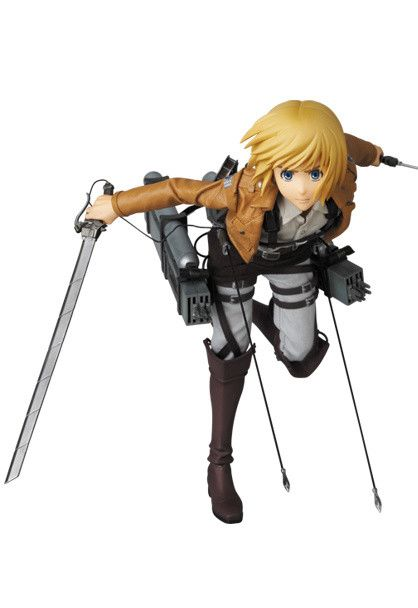 """It's everyone's favorite androgynous and soft-spoken Survey Corps member, Armin Arlert! Okay, so he may not be the bravest or most confident of the bunch, but Armin is certainly very intelligent, loyal, and can come through in a pinch. This Real Action Heroes series figure is highly customizable and comes with three different expressions (""""Yikes!"""", """"I got this!"""", and """"I wonder what's for dinner..""""..."""