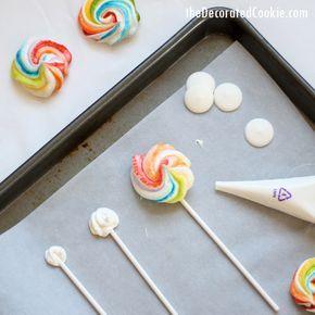 rainbow meringue cookie pops