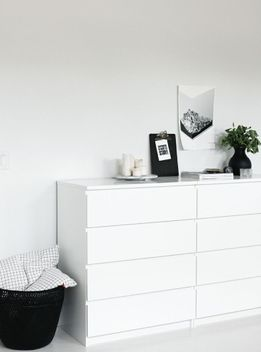 Chest of drawers: MALM Chest of 4 drawers, WHITE $299.  Width: 80 cm Depth: 48 cm Height: 100 cm.