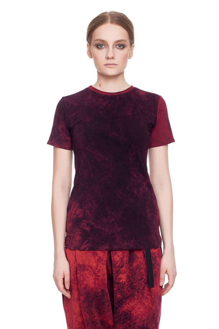 Short sleeves T-shirt, burgundy acid wash    #mariashi #fashion #russiandesigners #nofilter #outfit #outfitoftheday #outfits #outfitpost #clothes #fashionista #fashiondesigner #shopping