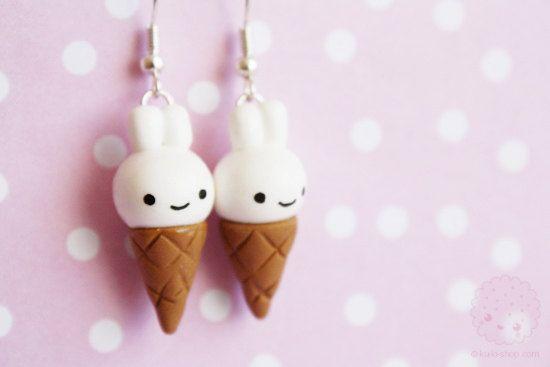 Lapin crème glacée boucles d'oreilles pâte polymère par kukishop
