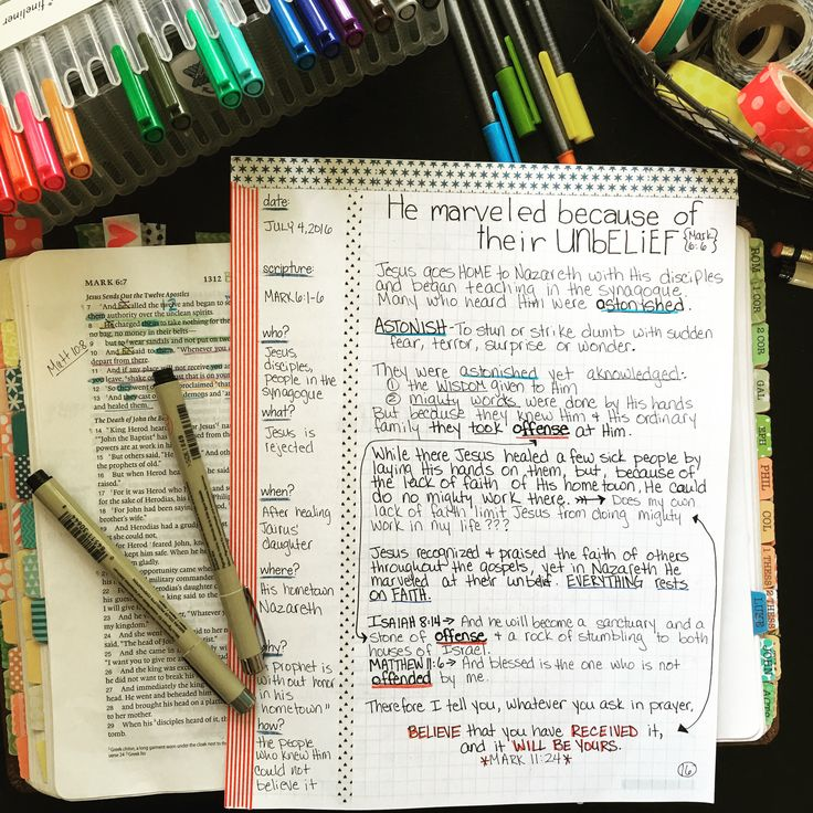 Bible Journaling through the gospel of Mark in my Farm Girl Bible Journal. Love the layout of these awesome journals!