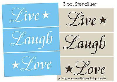 Cottage Shabby 3 Pc estêncil viver De Rir Amor Chic decoração primitiva sinais parede arte