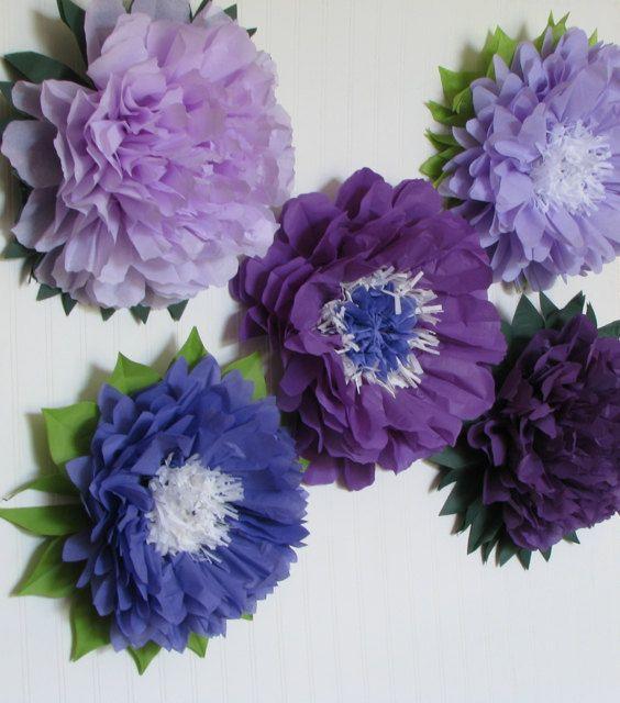 Purple Wonderland 5 Giant Paper Flowers wedding by whimsypie, $32.50
