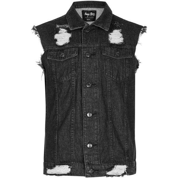 TOPMAN Always Rare Black Distressed Sleeveless Denim Jacket ($88) ❤ liked on Polyvore featuring men's fashion, men's clothing, men's outerwear, men's jackets, black, mens leather sleeve denim jacket, mens cotton jacket, mens punk jacket, mens distressed leather jacket and mens sleeveless jacket
