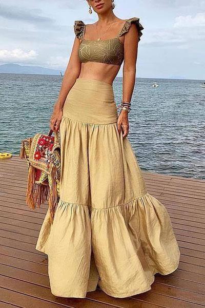Casual Pleated Splicing Pure Colour High-Waist Skirt – streetvova