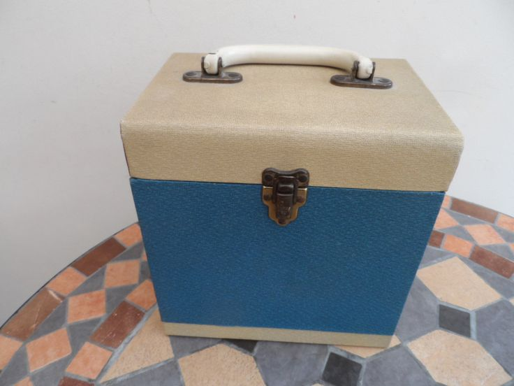 """Original circa 1950/60's  7"""" 45 rpm Winel Vinyl Record Storage Box. Wooden box covered in Blue and Cream material. All Original. by VintageFoggy on Etsy"""
