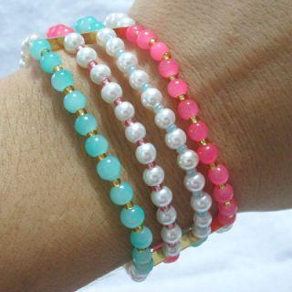 Pulsera Tres perlas Materiales: Accesorios en oro goldfield, hilo, perlas de vidrio, murano, perlas sencillas, mostacillas checas Valor: $15...