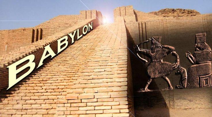 """""""Babylon: Marducks Wege bis in unsere Religion"""", grafisch von Su ergänzte Montage aus Zikkurat und Kultrelief, urheberrechtlich geschützt"""
