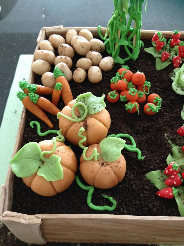 Allotment Birthday Cake with Marzipan Vegetables