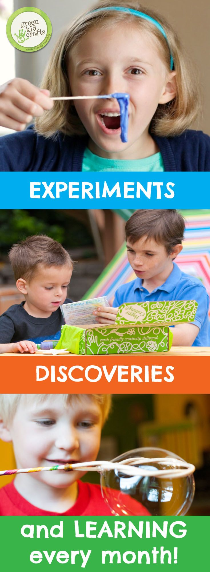 Give the gift of monthly STEM and Creativity Kits designed to spark creativity and curiosity from Green Kid Crafts.
