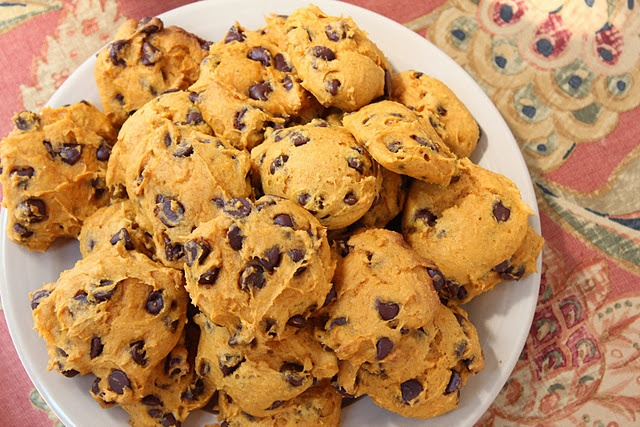 Chocolate Chip Pumpkin Cookies made with Cake Mix and Canned Pumpkin