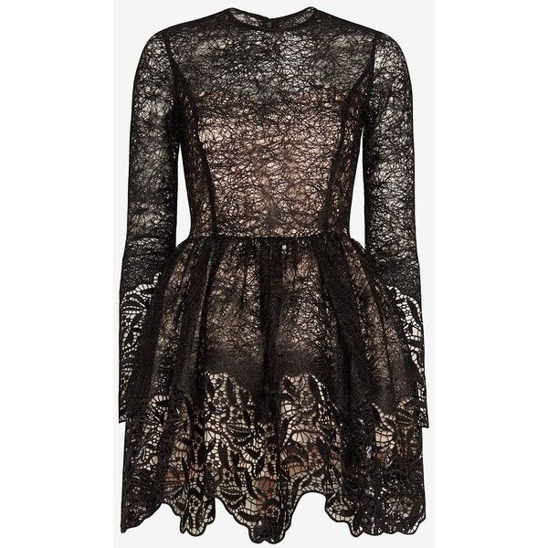 Alexis Malin Embroidered Lace Sequin Frill Flare Dress ($770) ❤ liked on Polyvore featuring dresses, vestidos, black, black lace cocktail dress, lace cocktail dress, lace dress, short cocktail dresses and long sleeve short dress