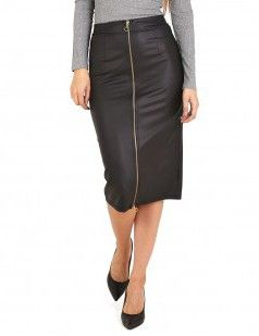 Black leather look pencil skirt
