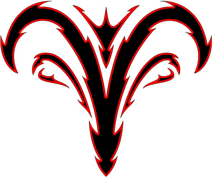 Red and Black Designs | Red And Black Tribal Aries Zodiac Tattoo Design