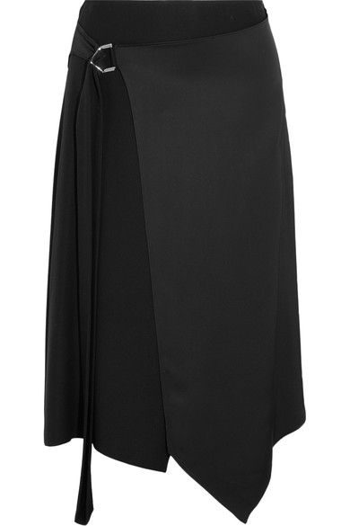 Black satin D-ring fastening at side 72% viscose, 28% silk Dry clean Made in Italy