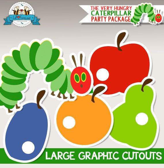 INSTANT DOWNLOAD - LARGE Cutouts - The Very Hungry Caterpillar Birthday Party - Baby Shower Graphics Cutouts, Large decoration Printable pdf...