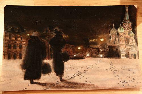 piazza rossa, Mosca- pastelli morbidi