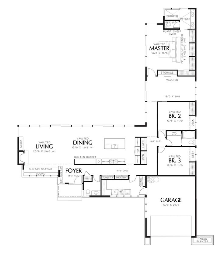 Modern Style House Plan - 3 Beds 2.50 Baths 2498 Sq/Ft Plan #48-561 Floor Plan - Main Floor Plan - Houseplans.com