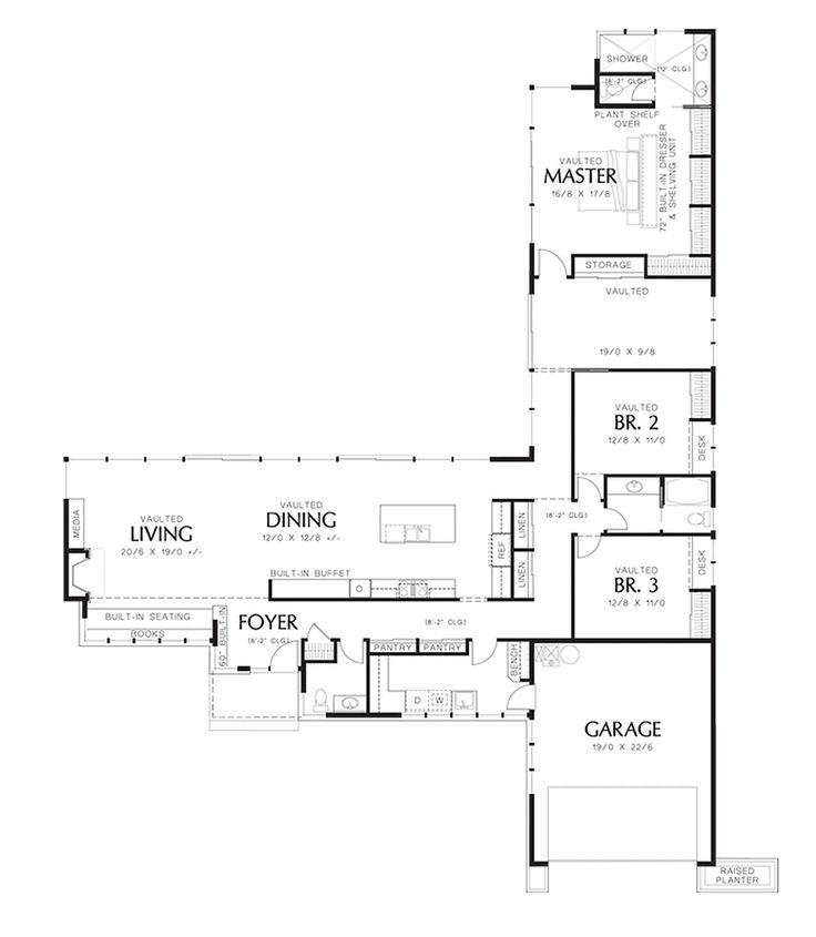 Modern Style House Plan - 3 Beds 2.50 Baths 2498 Sq/Ft Plan #48-561 Floor Plan - Main Floor Plan - Houseplans.com