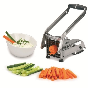 French Fry Maker, by GEFU  The Gefu French Fry Maker is not for for potatoes!  This slicer can cut vegetable sticks for appetizers and for healthy snacks. Secure suction grip and sharp steel chopping blades. Available from Suburban Foodies