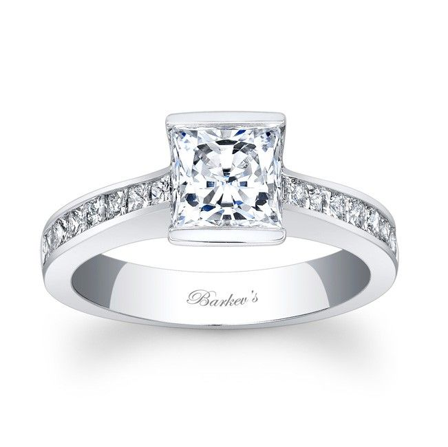 Trending Princess Cut Engagement Ring LW This traditional white gold diamond engagement ring sports clean