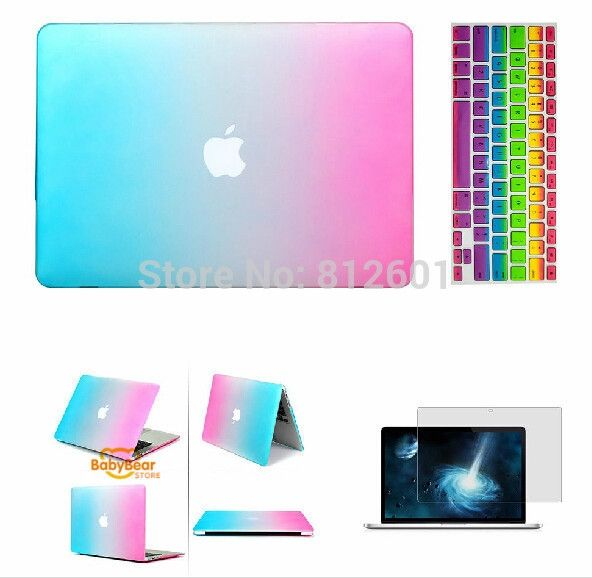 3 in 1 Rainbow Matt Case cover+ silicone K Screen Protectoreyboard Cover+ For Apple Mac Book Pro 11 12 13 15 without logo