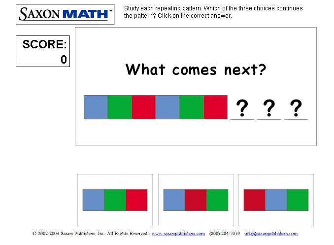 Patterns: study repeating patterns and click on the one that continues the pattern