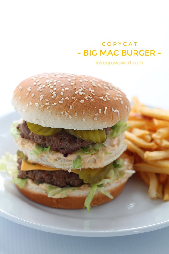 This copycat recipe makes the perfect Big Mac Burger! Extra meaty and loaded with a homemade special sauce!   LoveGrowsWild.com