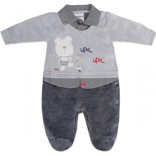 Macacão de Plush para Bebê Menino Xadrez - Travessus