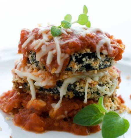 Recipe for Baked Breaded Eggplant with Marinara - These crisp, cheesy eggplant slices are a lighter take on the more traditional fried eggplant Parmesan. It lets the savory flavor of the Parm and the satisfying crunch of the panko.