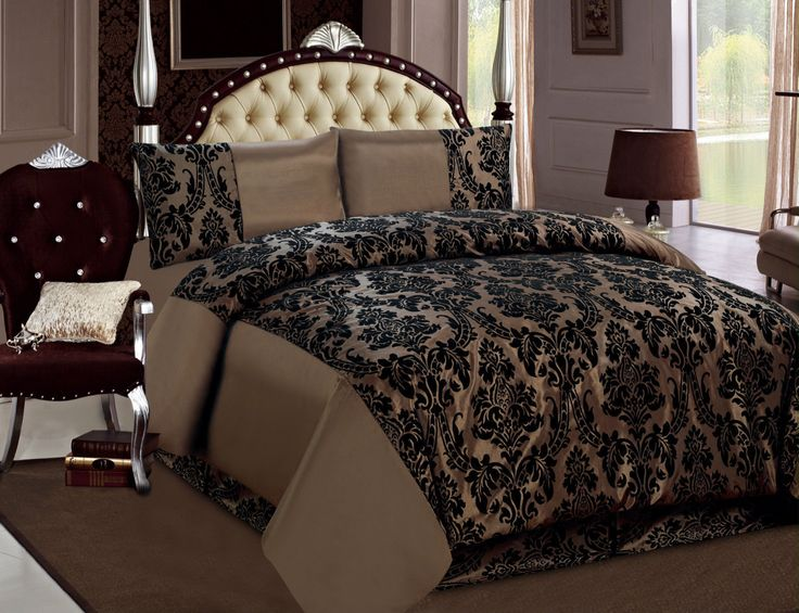 Damask Flock Bedding Set. Give your Bedroom or Living room the most elegant look. 2 x Pillow Cases:45 cm x 75 cm (you will get the pillow cases showing in the behind). 1 x Duvet Cover: 200 x 200 CM's. | eBay!