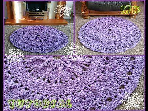 Ковер крючком из шнура для начинающих 6-8 ряды Crochet rug for beginners 6-8 rows - YouTube