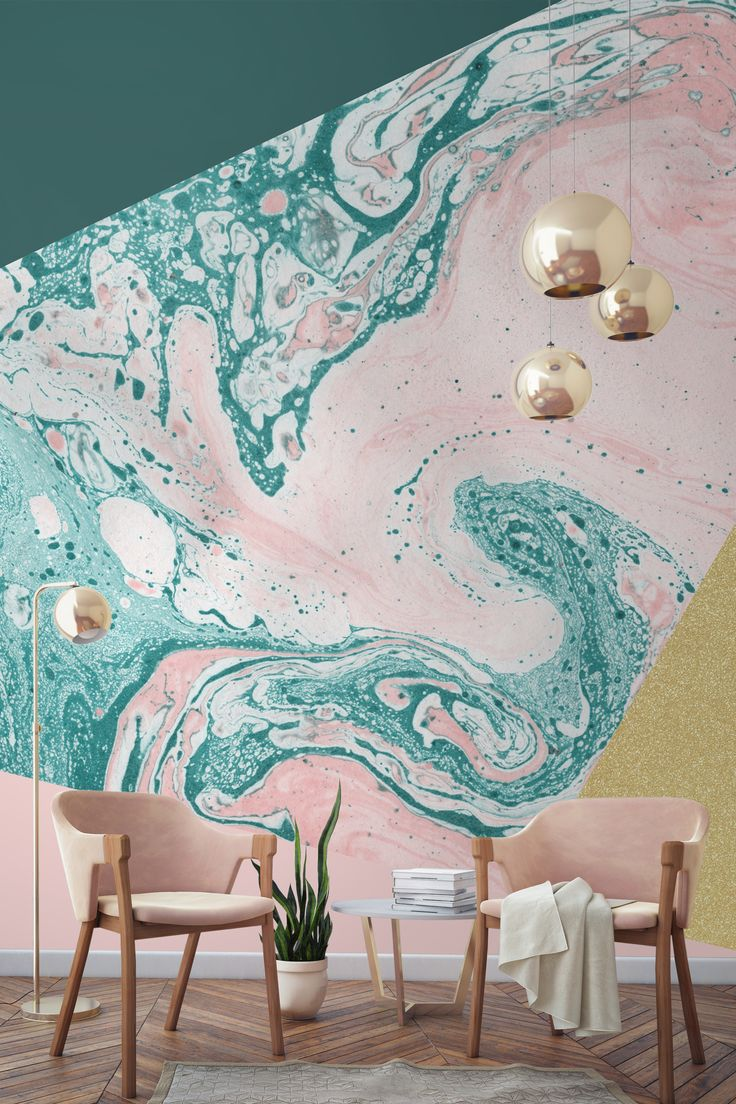 In love with this blush pink, marble and gold combination. Forest green melts…