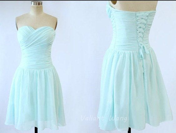 Blue Sweetheart Neck Chiffon Bridesmaid Dress Knee Length Short Corset Prom Dress on Etsy, $96.59 CAD