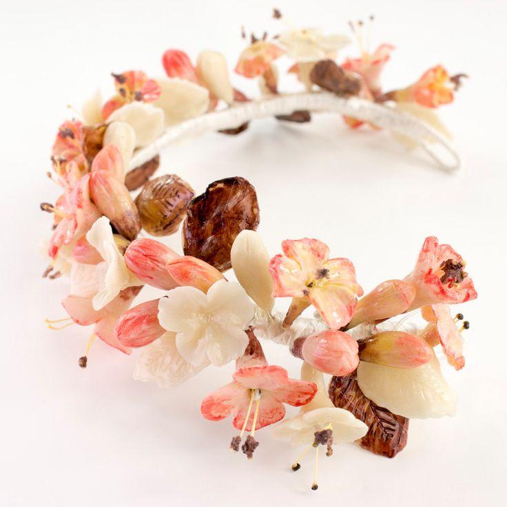 Media corona de flores en colores naturales de OLGAALOR en Etsy