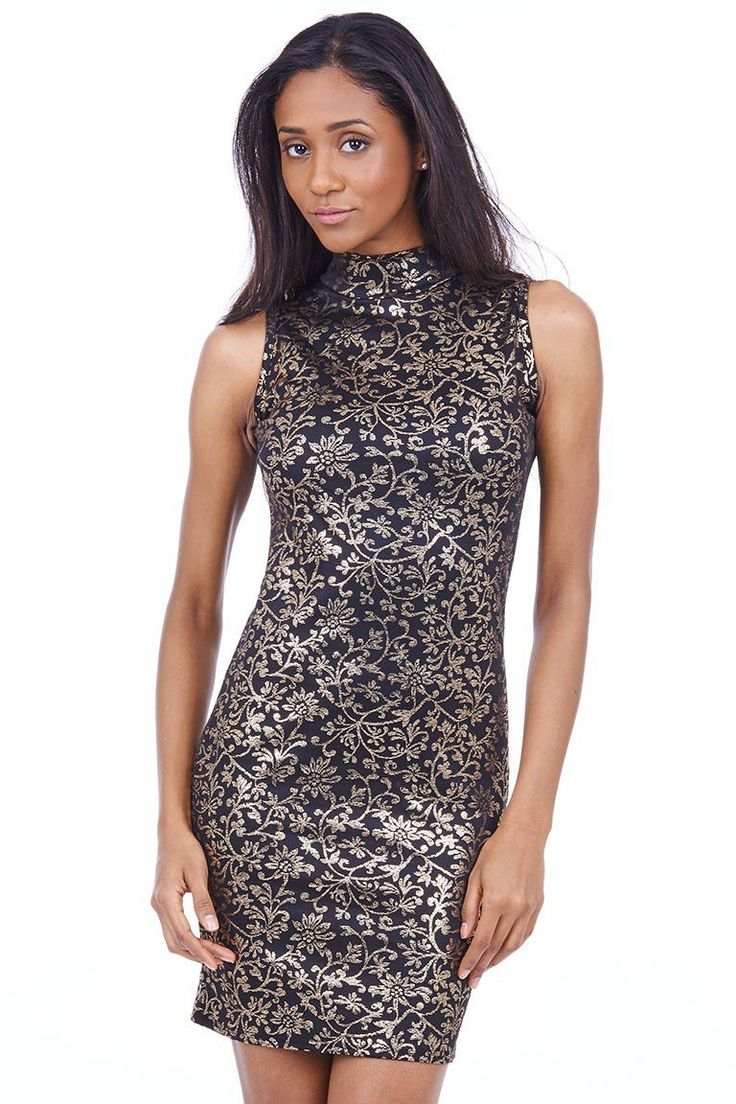 Gold Flower Design Bodycon Dress   Gold Flower Design Bodycon Dress. This fabulous dress is elegant and romantic! Perfect for a date with your loved one! Simply team up with a lovely pair of court heels and a clutch bag for the finishing touch. Key features include slightly elasticated material, high neck with no sleeves. Hurry up and get this beautiful dress for only £25.00