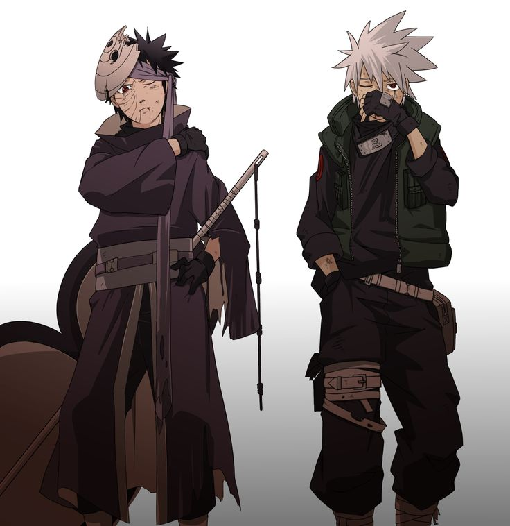 Uchiha Obito and Hatake Kakashi. Anyone notice that Kakashi isn't wearing his mask, but his hand is covering his face! Why!?