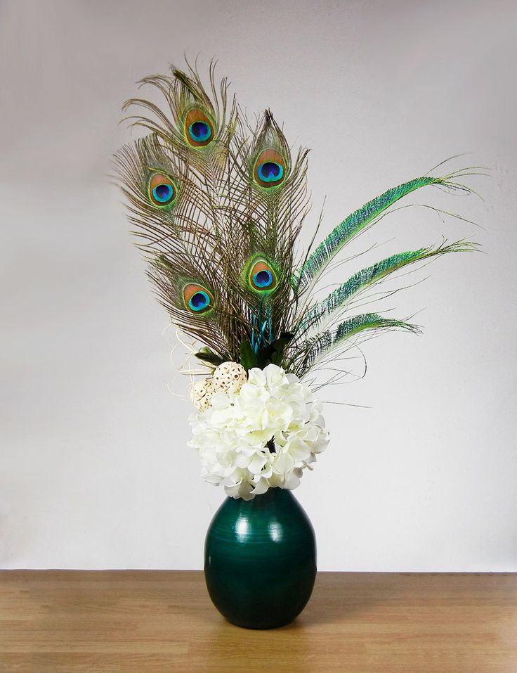 Elegant Tall Flower Arrangements | ... Teal Peacock Feather Floral Arrangement with White Hydrangea Flowers