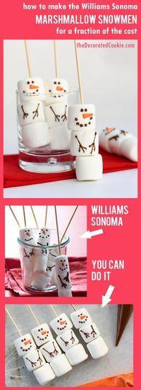 snowman marshmallow hot cocoa stirrers -- Williams-Sonoma-inspired winter and Christmas treat idea