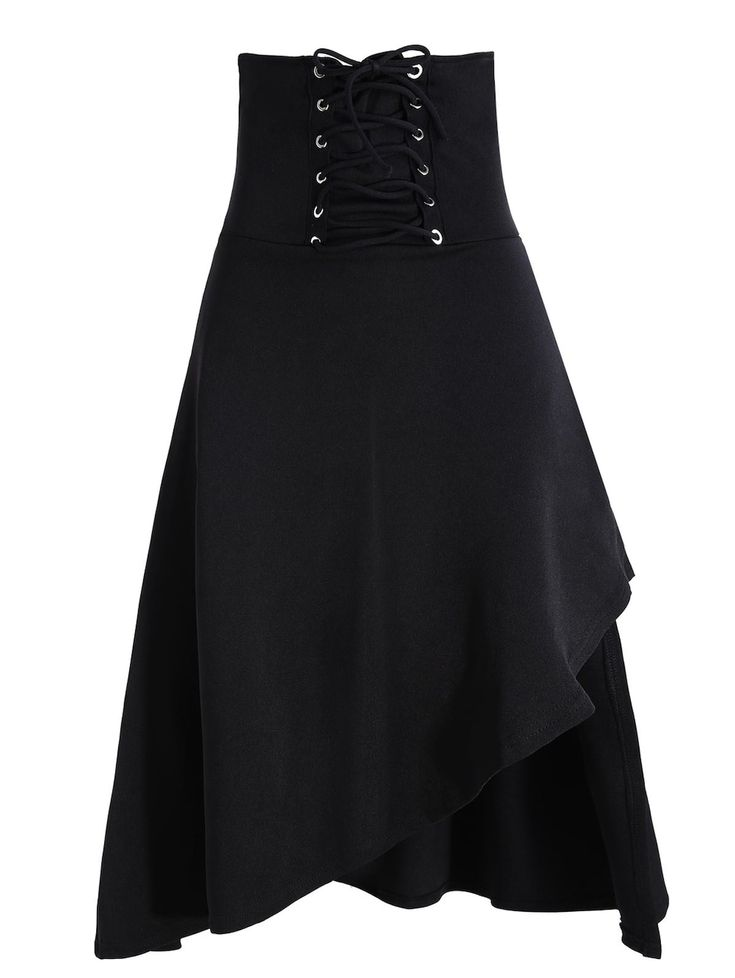 This with some of the white tops that are lacy.   Lace Up Asymmetric Gothic Long Skirt