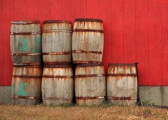 Barrels with red background