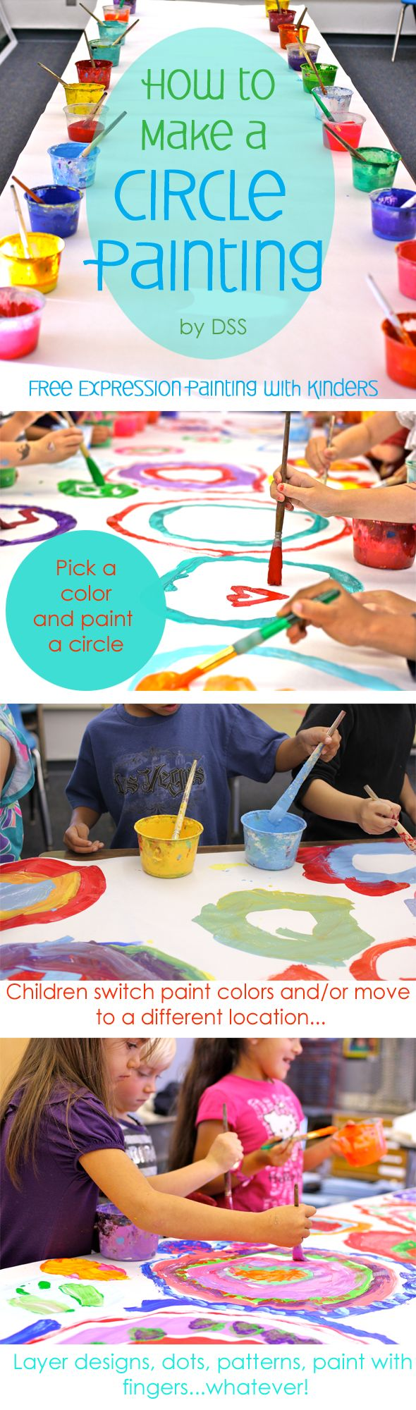 How to manage a group of twenty kids in a collaborative art project: circle painting project for kids