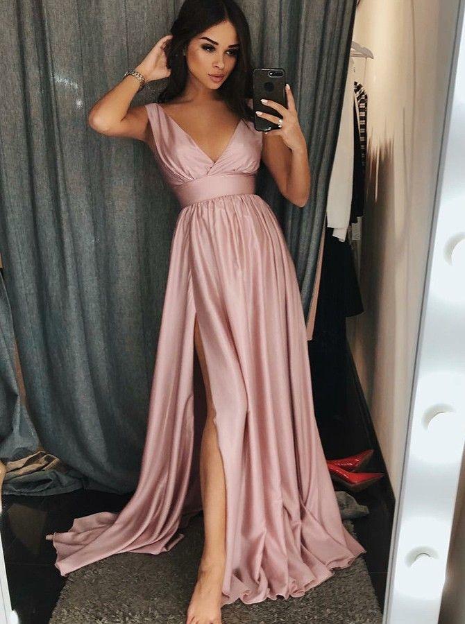 6e0d51bd681b elegant v-neck blush prom party dresses split, modest simple formal evening  gowns,