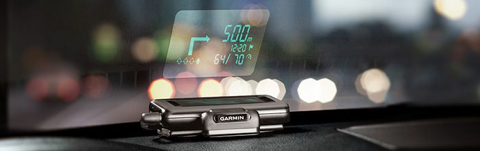 Amazon.com: Garmin Head-Up Display (HUD) Dashboard Mounted Windshield Projector: GPS & Navigation  $149.49 This device receives information from your smartphone and then displays it as a transparent box on your windshield. So you're not taking your eyes off the road AND you don't need to buy a whole new GPS system, just borrow from your phone. GENIUS