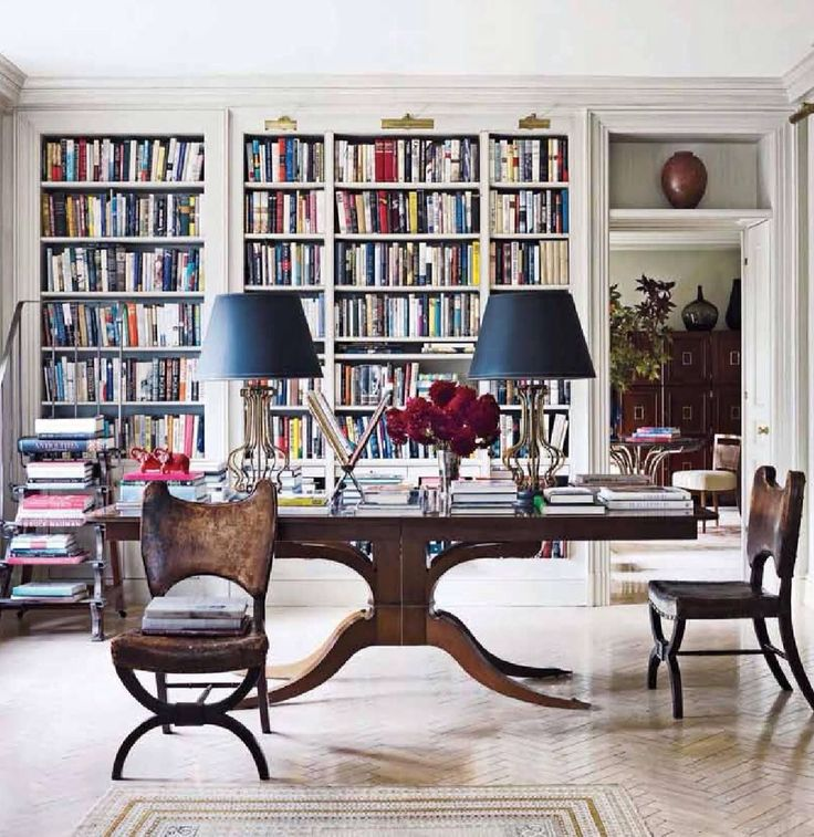 Bright White and Chic Home Office and Library.