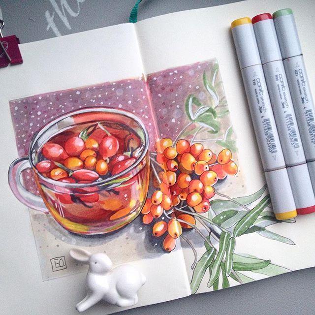 1/8. Зимние напитки. Вообще, я чай не люблю, но ........зимою, совсем другое дело! Чай с шиповником и облепихой! #lk_newyear от @art_markers @miftvorchestvo @tsusketch