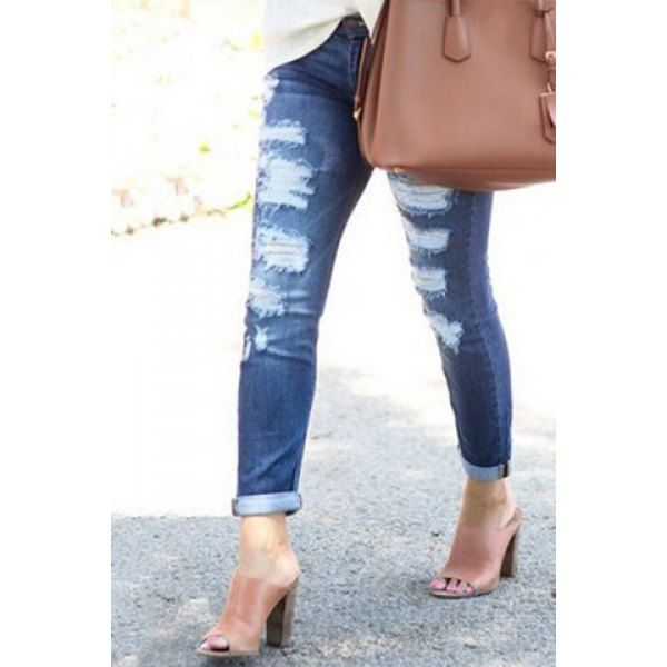 Trendy Mid-Waist Broken Hole Ripped Jeans For Women Only $5.90 Drop Shipping | TrendsGal.com