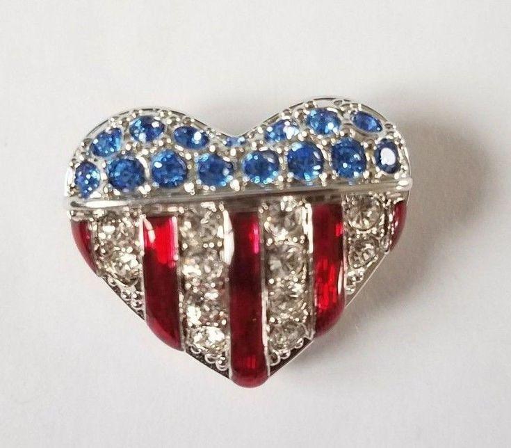 Swarovski Heart Shape American Flag Lapel Pin Rhinestones Red Enamel Swan Mark #Swarovski