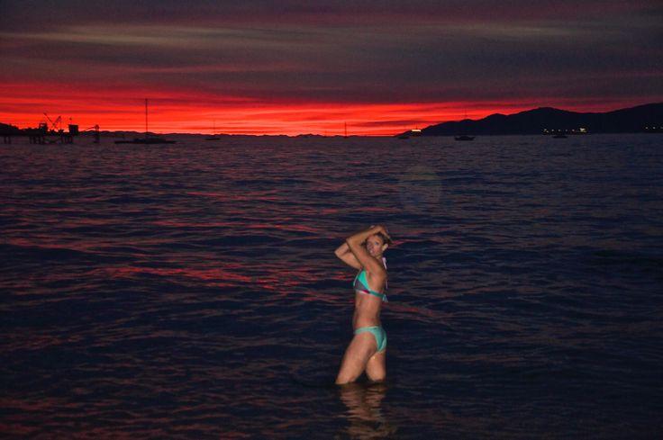Sunset Kits Beach Vancouver BC Canada.